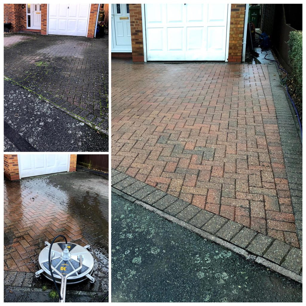 Image of dirty, grey/black driveway on left. Image of same driveway, now colourful, on right, after cleaning by Bespoke Services Company Bicester.