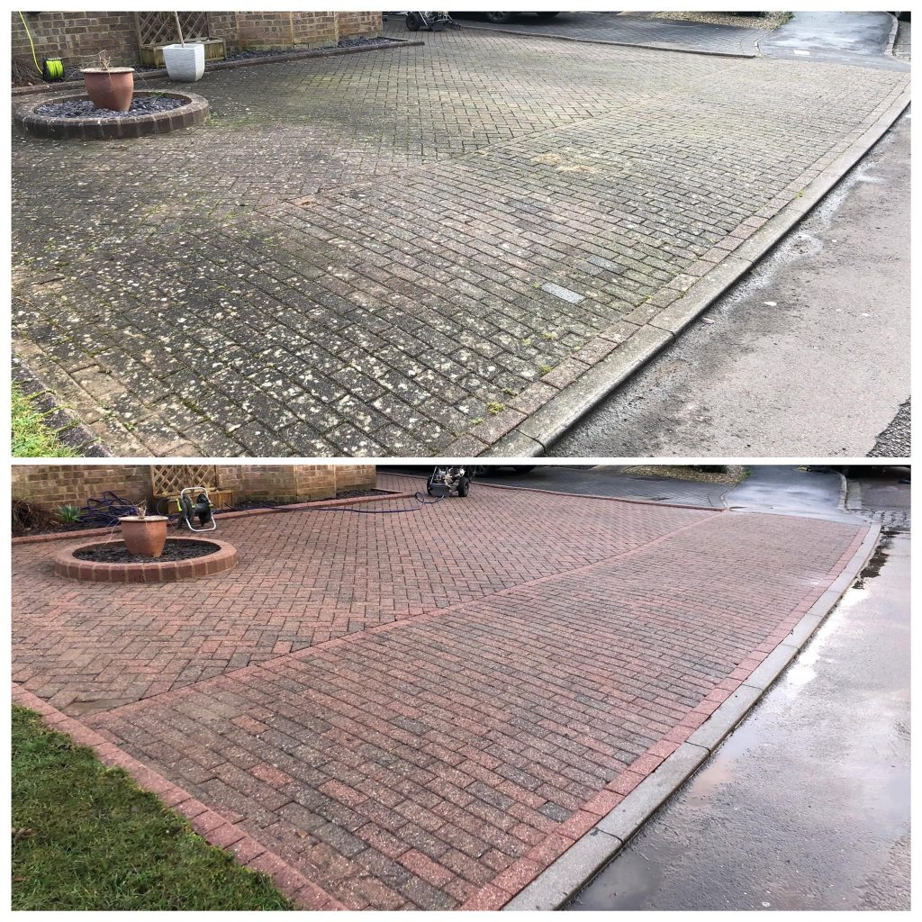Image of large, grey, dirty block-paving driveway. Image below of same driveway, now bright red .