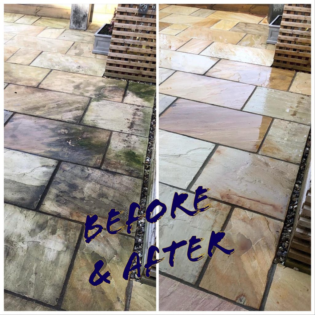 Picture of dirty patio on left, picture of clean patio on right, in Bicester.
