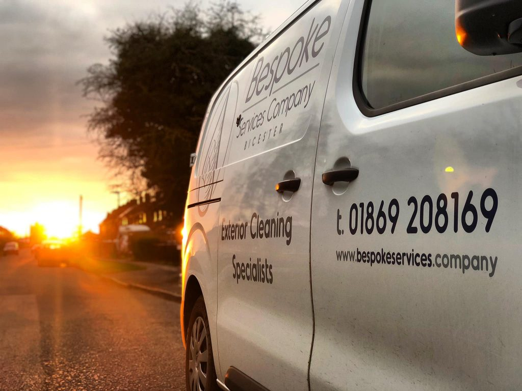 Image of Bespoke Services Company van, with telephone number (01869208169) and website address.